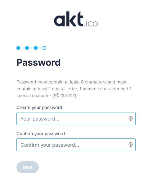 Choisir son mot de passe pour investir dans l'ICO d'AKT.io