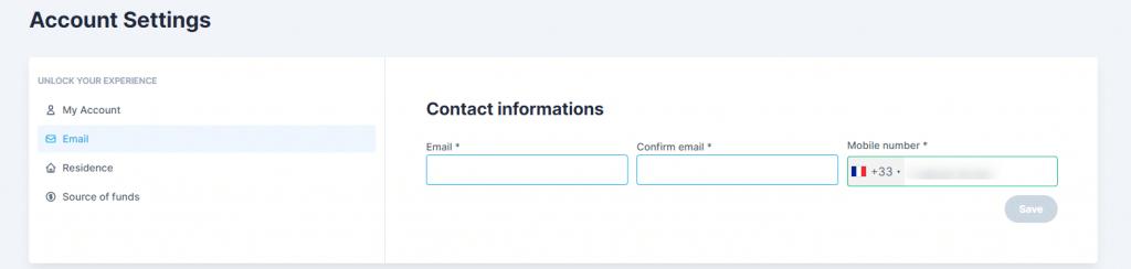 Saisir son mail pour la validation du compte et investir sur AKT.io
